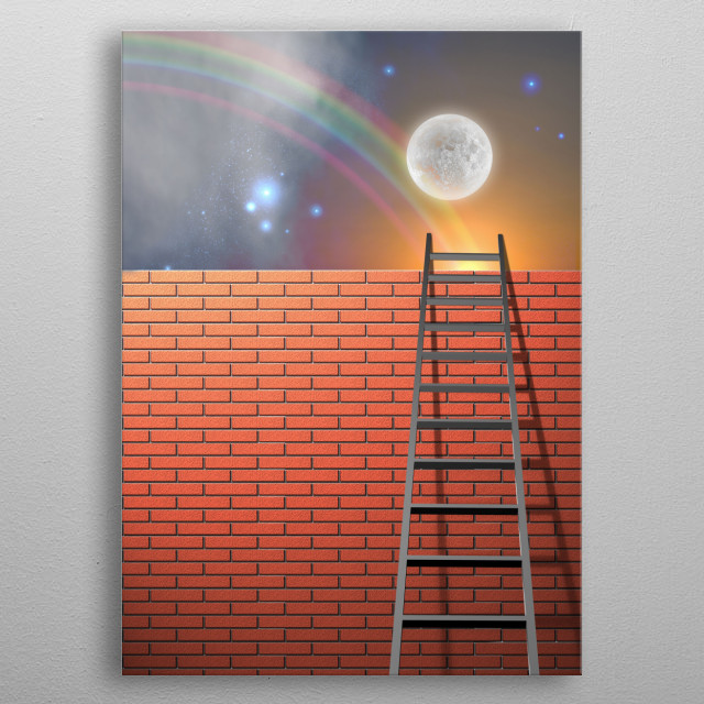 Ladder leans on wall. Vivid sky with rainbow and full moon metal poster