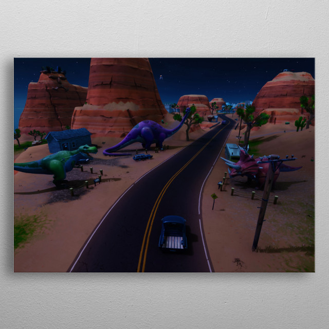 Location of Three Dinosaurs in Fortnite Battle Royale. metal poster