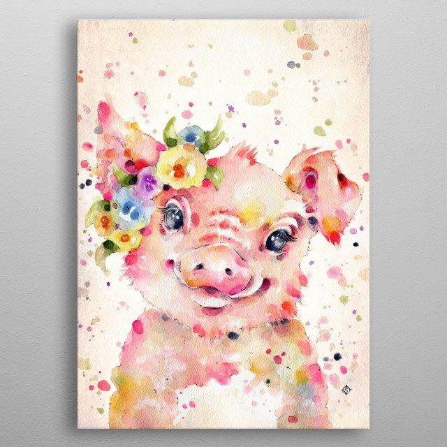 a sweet pig with a flower crown, it is the year of the pig after all.  Created with water colours metal poster