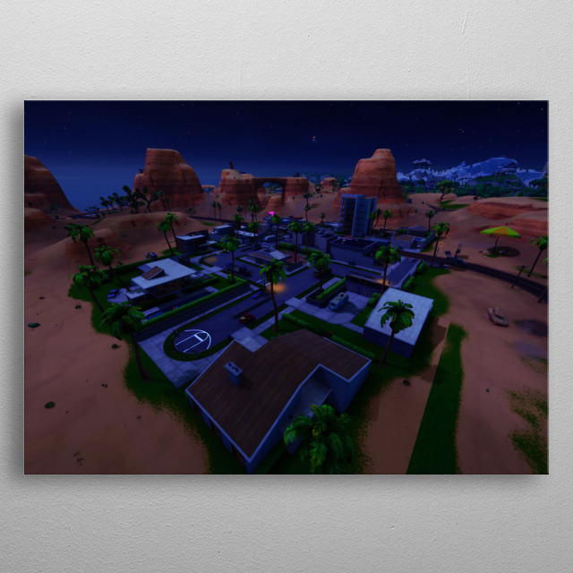 Paradise Palms is an area on the Battle Royale map located at southeast coordinates H8-I8, east of Fatal Fields. metal poster