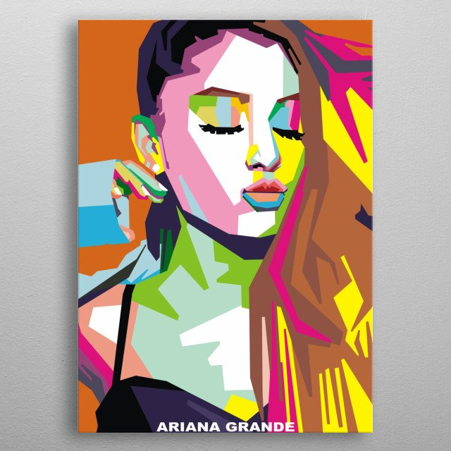 illustration of ariana grande in pop art style metal poster