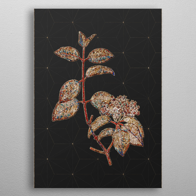 Botanical drawing in Prismatic Stained Glass!!! Digitally rendered, gilded and outlined in sparkly glitter. Set on art deco background.  metal poster