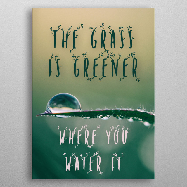the grass is greener where you water it typography text art quote by Wordfandom - Word Fandom metal poster