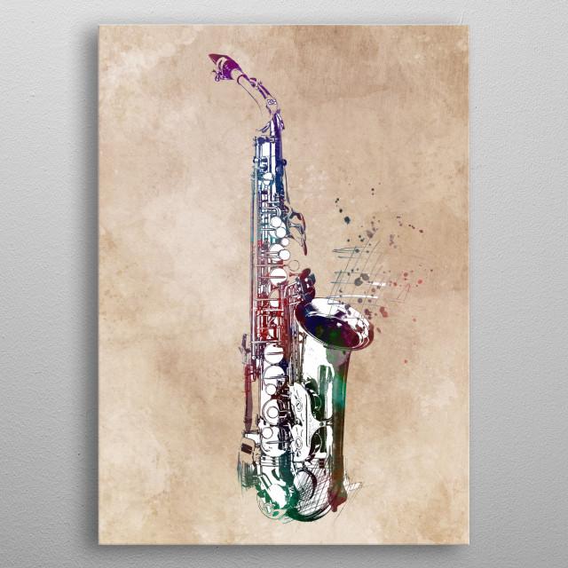 saxophone music art #saxophone #music metal poster