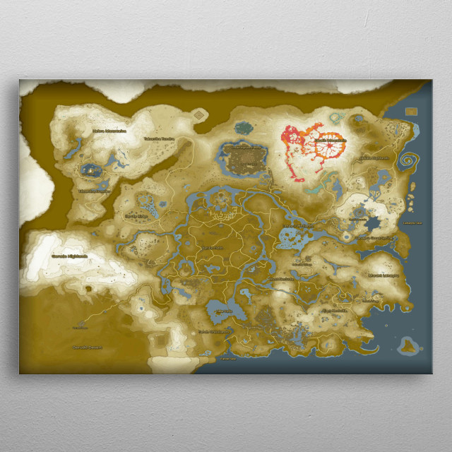Breath Of The Wild Map Gaming Poster Print Metal Posters