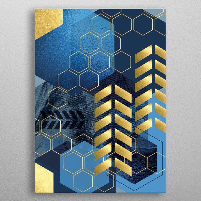 Modern geometric art in navy blue and gold metal poster