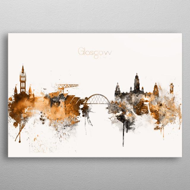 Watercolor Copper Skyline art print of Glasgow, Scotland.  metal poster