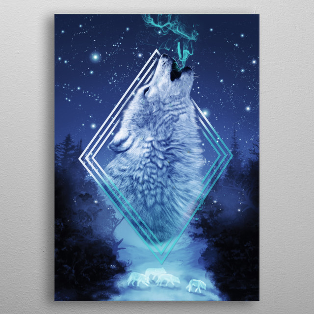 Pack of spiritual wolf running in the snow. metal poster