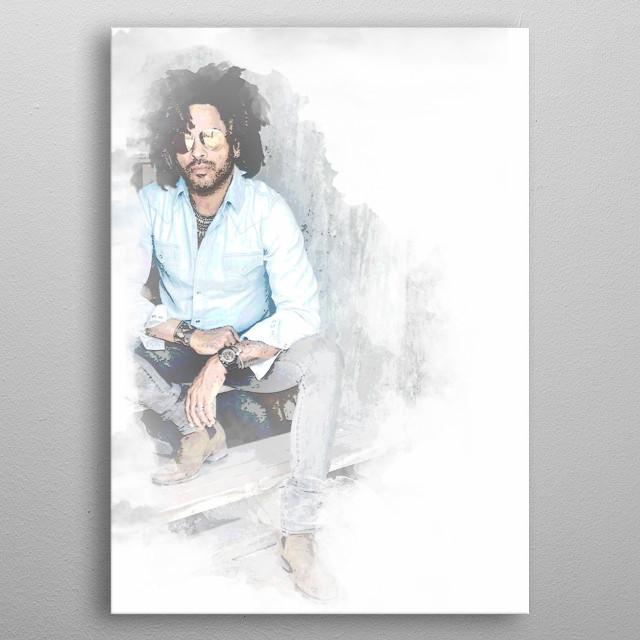 Lenny Kravitz watercolor artwork inspired by Lenny Kravitz. metal poster
