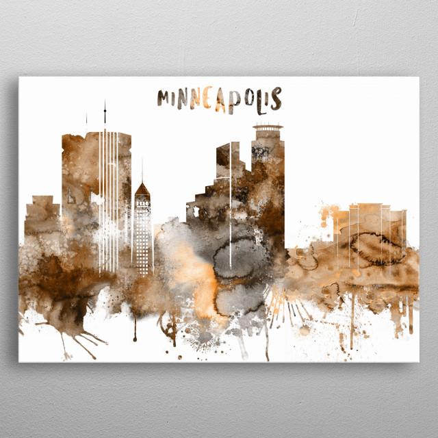 Watercolor Copper Skyline art print of Minneapolis, Minnesota.  metal poster