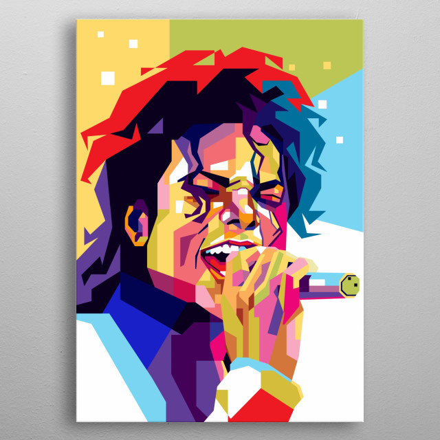 Illustration Colorful Michael Jackson is singer and dancer, with pop art portrait modern style metal poster