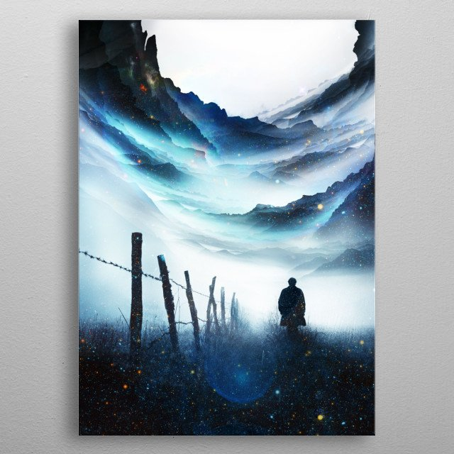 """A man who travel trough space and time """"And if you gaze long into an abyss, the abyss also gazes into you."""" – Friedrich Nietzsche  metal poster"""