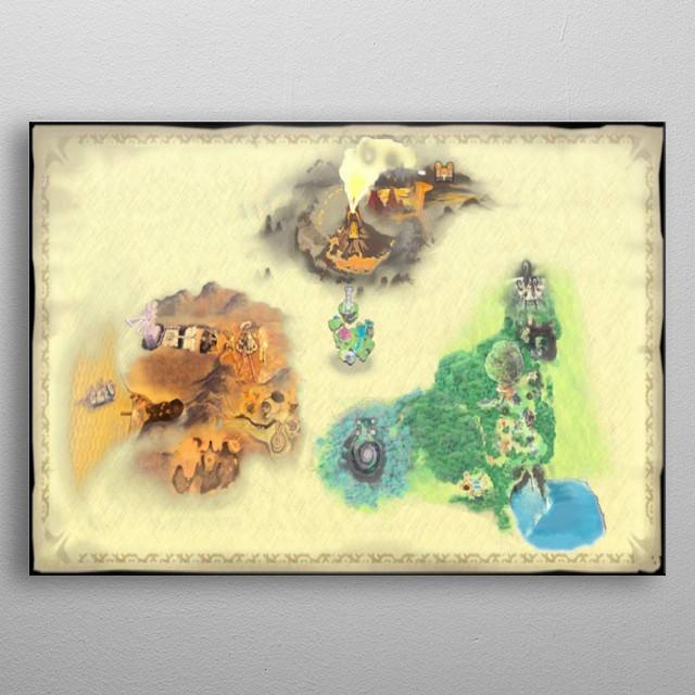 Skyward Sword World Map Gaming Poster Print Metal Posters