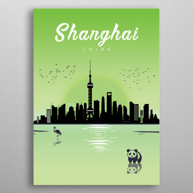 Landscape and skyline of Shanghai in China metal poster