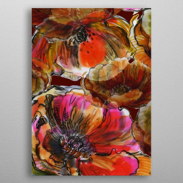 Floral design with red anemones.  Part of a set of 4.  Copyright Fanitsa Petrou. All Rights Reserved.  metal poster