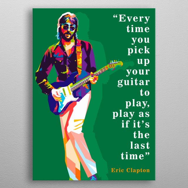 an pop art illustration of Eric Clapton. metal poster