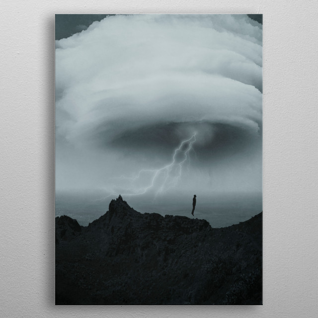 surreal scenery with a lenticular cloud over a seascape and a man jumping metal poster