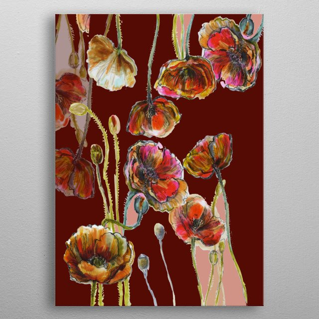 Floral illustration with Anemones. Part of a collection. Copyright © Fanitsa Petrou. All Rights Reserved.   metal poster