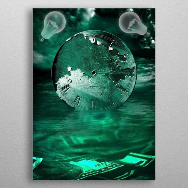 Currency and Clock. Light bulbs represents ideas metal poster