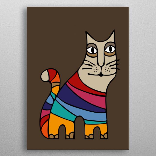 Colorful cat illustration. metal poster