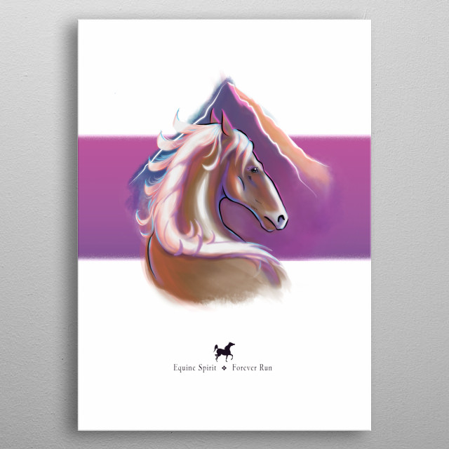 Illustrated painting of a blonde horse looking back for a moment while running wild and free in the sunset mountains. metal poster