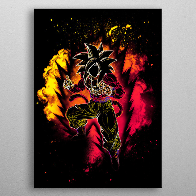 Black Silhouette of the power of Oozaru metal poster