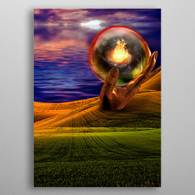 Surreal landscape with giant sculptures and fire in crystal ball metal poster