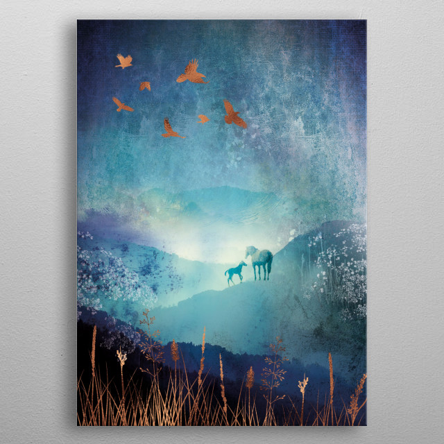 Winter country landscape scene with a horse and foal and birds flying. Copper metallic highlights on blue and turquoise.   metal poster