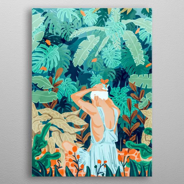 Tropical Backyard illustration metal poster