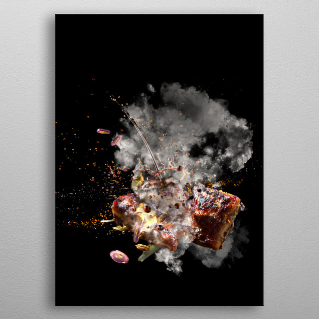 another food art pic of roasting ribs metal poster