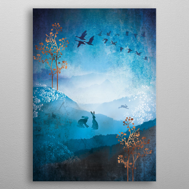 A rural country landscape in blue and turquoise with copper metallic highlights.  Hares run and watch the birds flock and migrate. metal poster