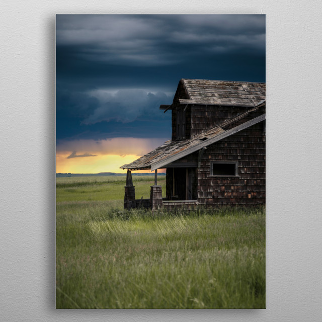 Abandoned house in the prairies. metal poster