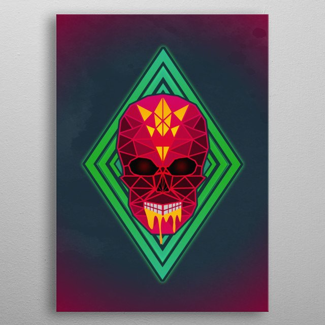 This is a geometric red and yellow neon skull using poly art to create a punk, dark and gothic design. metal poster