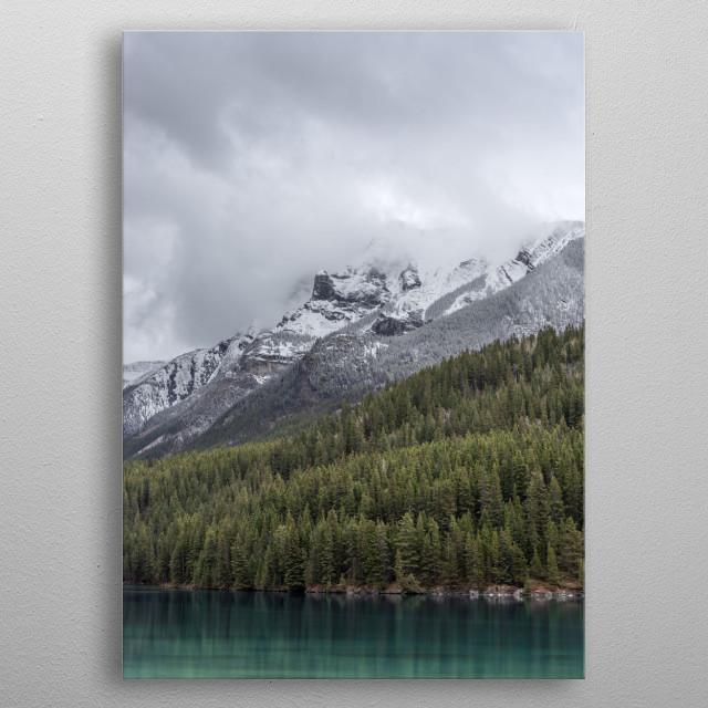 Springtime in banff nationalpark. Two jack lake.  metal poster