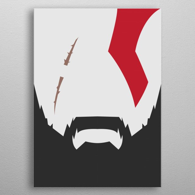 Minimalistic artwork of the older and wiser Kratos from 2018's God of War metal poster
