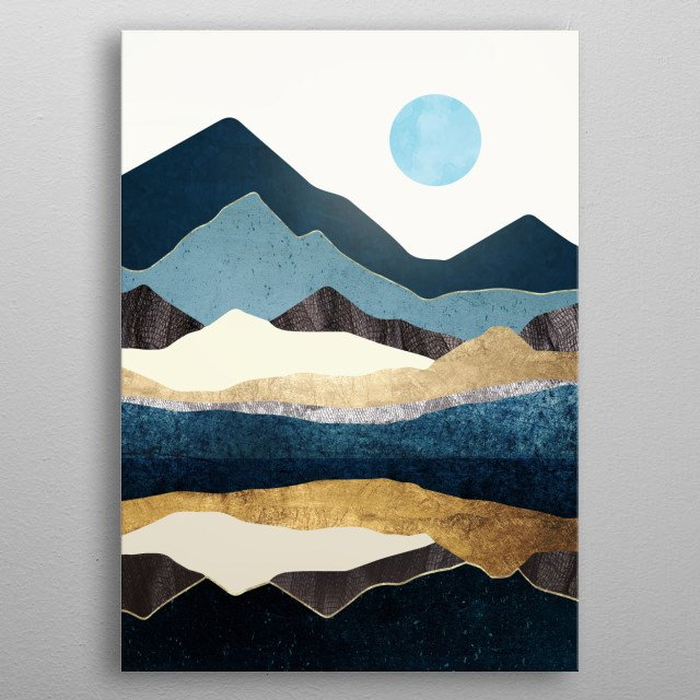 Abstract landscape of reflecting hills with gold, indigo and yellow metal poster