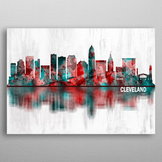 Red and Blue Skyline of Cleveland, a major city in the U.S. state of Ohio, and the county seat of Cuyahoga County  metal poster