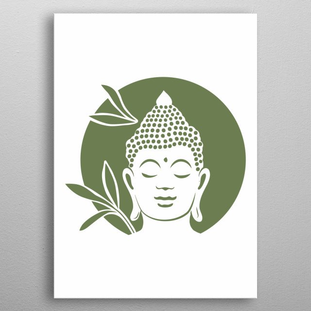 Buddha with bamboo plants in behind metal poster