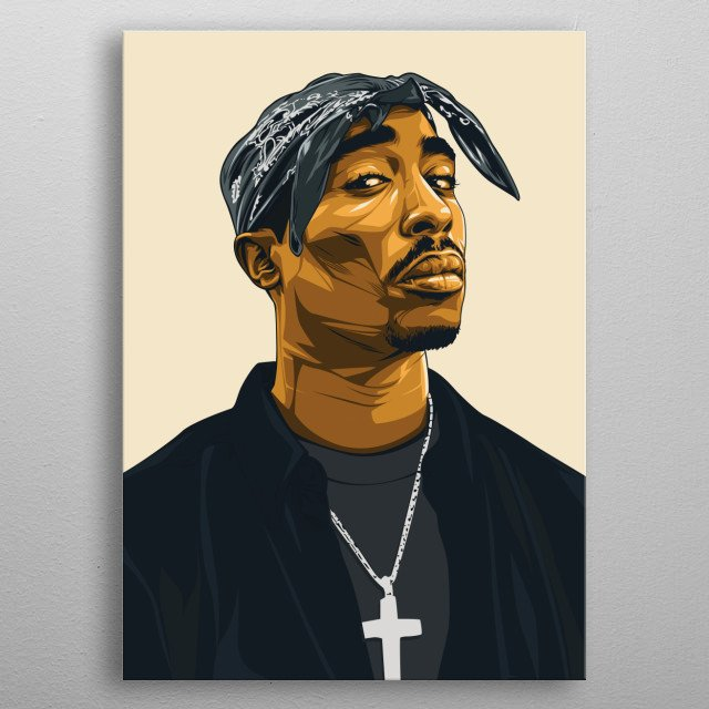 illustration of the legend american gangster rapper 2pac metal poster