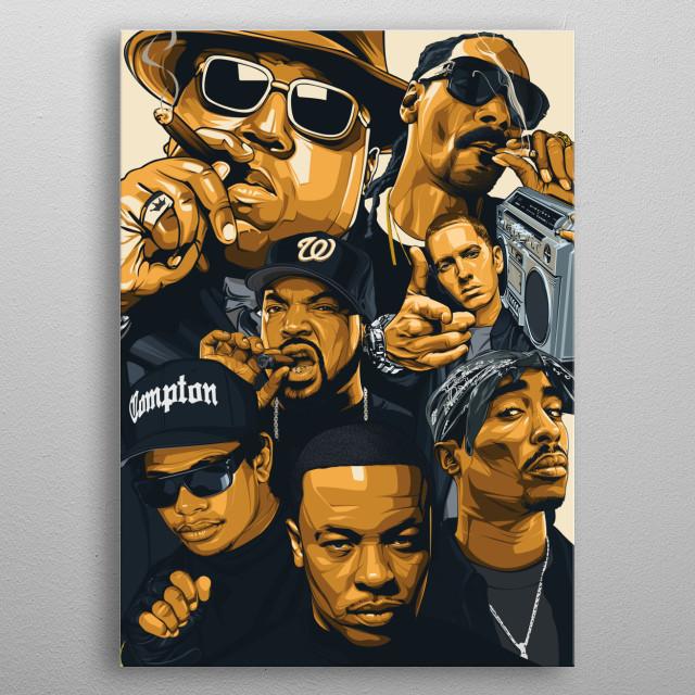 illustration of 7 american rapper inspired! metal poster