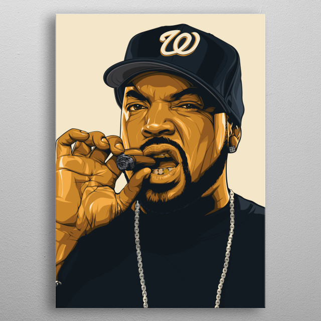 illustration of the american rapper inspired ice cube! metal poster