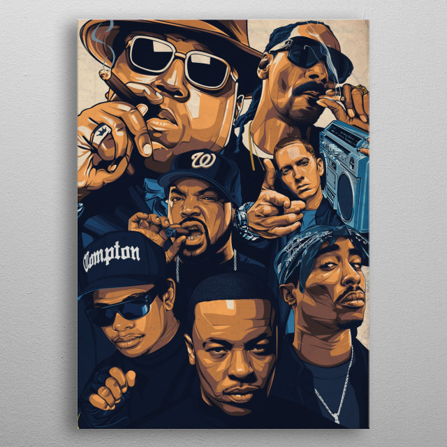 illustration of the seven inspired of all time! metal poster