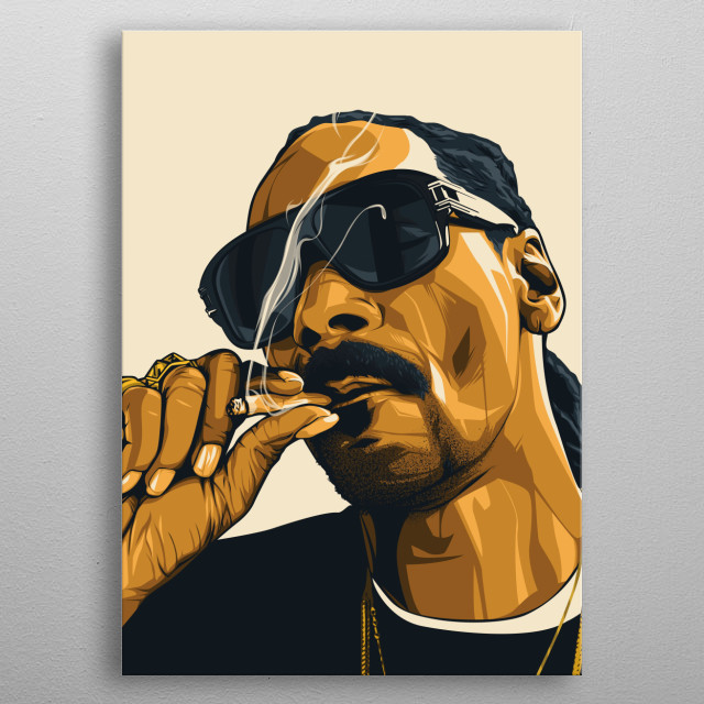 illustration of the american rapper icon snoop dogg metal poster