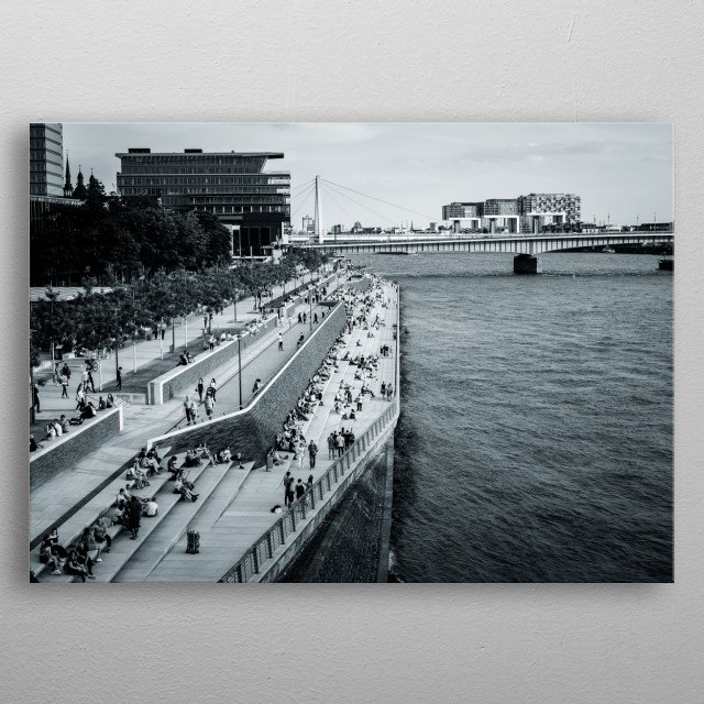 View from hohenzollern bridge cologne metal poster