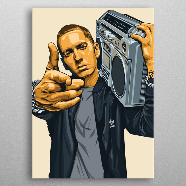 illustration of the legendary american white rapper. the rap god eminem metal poster