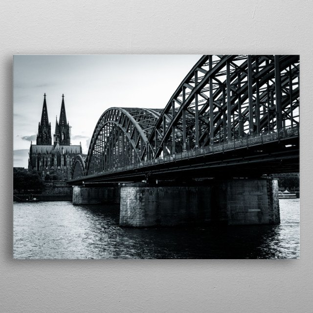 Black and white photography of cologne cathedral and hohenzollern bridge metal poster