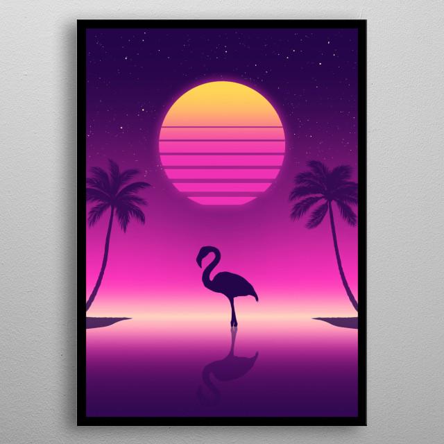 Flamingo in retro style metal poster