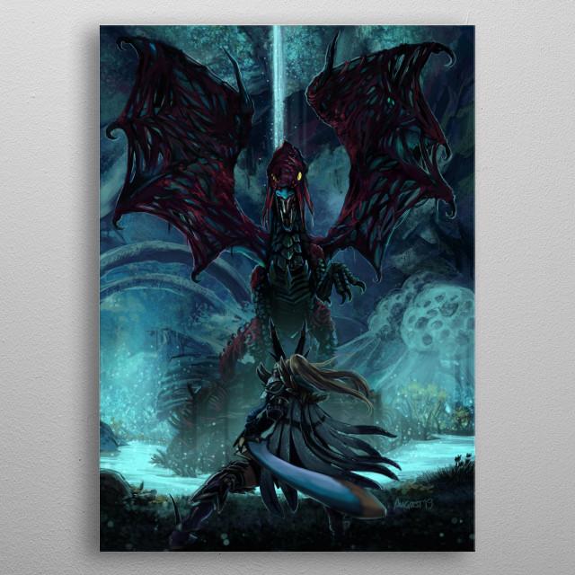 Death Lurks in the Light of the Darkness [Monster Hunter] || CLIP STUDIO PAINT EX  Vaal Hazak and Long Sword G-rank Legiana armour Huntress. metal poster