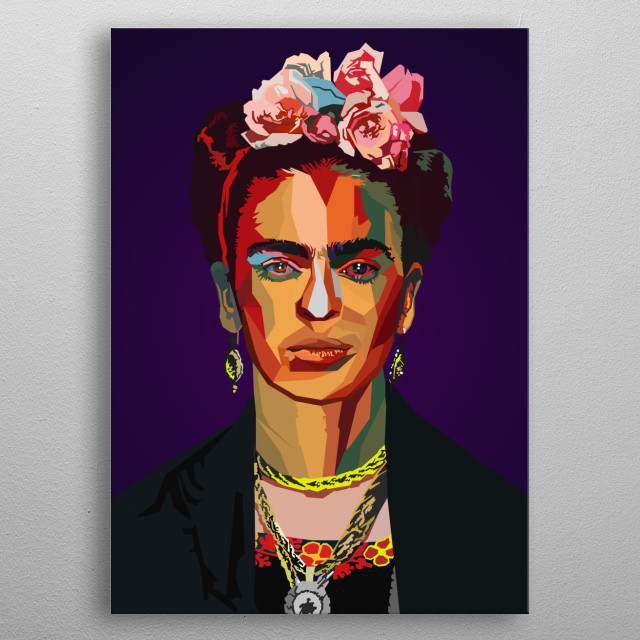 Frida Kahlo de Rivera  Mexican painter wpap popart  metal poster