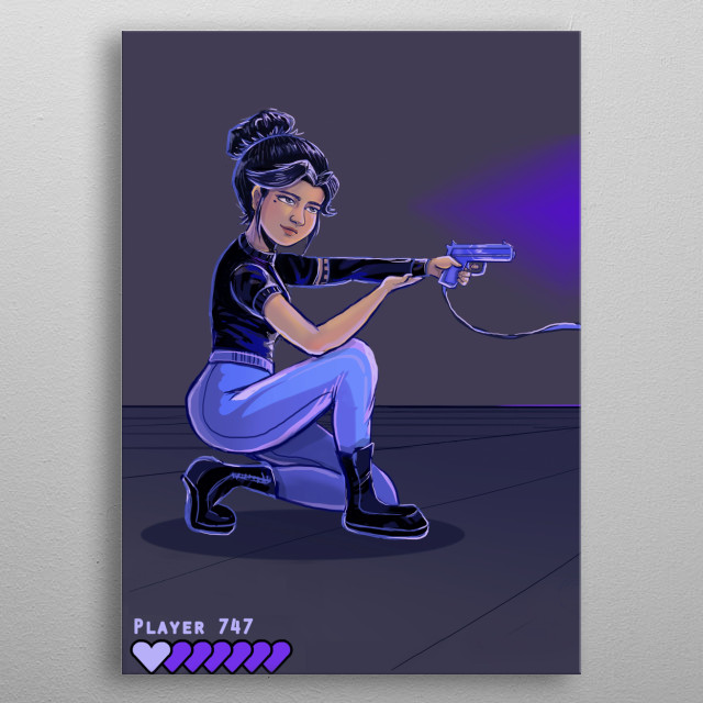 Agent 747 goes to the arcade to play and practice her shooting abilities. metal poster
